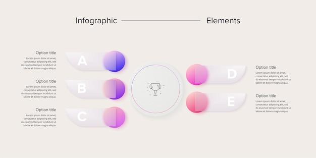 Infografica del grafico dei processi aziendali con cerchi in 5 fasielementi grafici circolari del flusso di lavoro aziendale