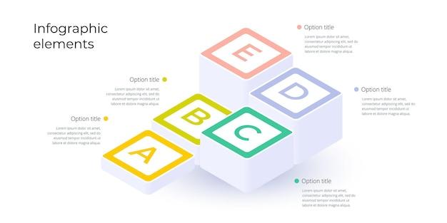 Infografica del grafico dei processi aziendali con 5 opzioni di passaggio