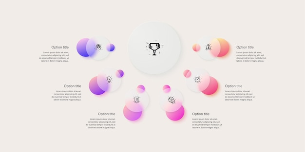 Infografica del grafico dei processi aziendali con 6 cerchi di passaggio. elementi grafici circolari del flusso di lavoro aziendale. diapositiva di presentazione del diagramma di flusso aziendale. infografica vettoriale nel design glassmorphism.