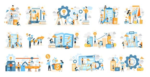 Icone di processo aziendale impostate con persone che lavorano su bianco.