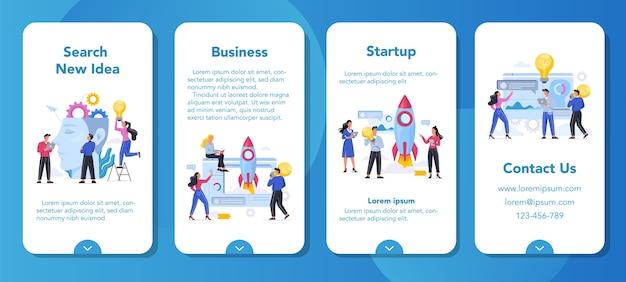 Banner di applicazione mobile del processo aziendale. gente di affari che lavora in squadra. fai un brainstorming e avvia il concetto. mente creativa e innovazione. illustrazione