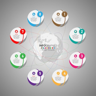 Infographics di sequenza temporale dei processi aziendali 8 passaggi.