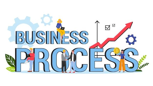 Concetto di banner parola processo aziendale. idea della procedura di gestione e miglioramento. illustrazione