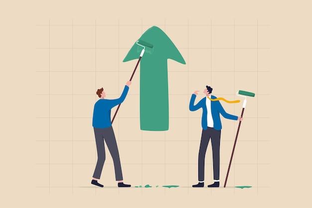 Crescita del profitto aziendale, miglioramento o sviluppo della carriera, guadagno di investimento in aumento o partnership per aiutare a far crescere il concetto di business, partner d'affari che aiuta a dipingere il grafico della freccia verde di crescita.