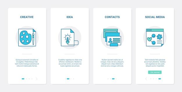 Creazione di progetti aziendali nel set di schermate della pagina dell'app mobile di onboarding dell'interfaccia utente dei social media