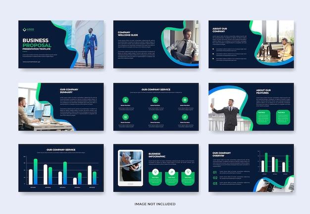 Modello di diapositiva di presentazione della proposta di progetto aziendale o modello pwoerpoint del profilo aziendale