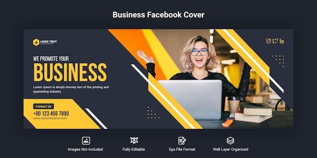 Promozione aziendale e modello di banner di copertina aziendale per facebook
