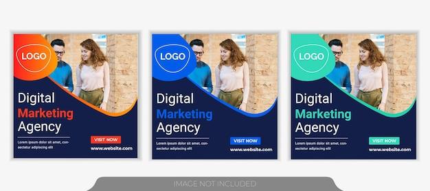 Modello di banner post sui social media per la promozione aziendale e l'agenzia di marketing creativo