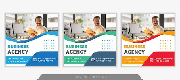 Modello di banner post sui social media per la promozione aziendale e l'agenzia di marketing creativo.