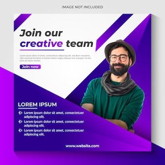 Modello di banner di social media creativo di promozione aziendale premium