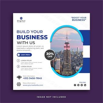 Agenzia di marketing per la promozione aziendale e modello di banner post instagram social media aziendale