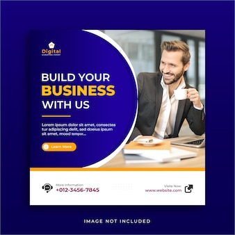 Agenzia di marketing per la promozione aziendale e modello di post instagram social media aziendale