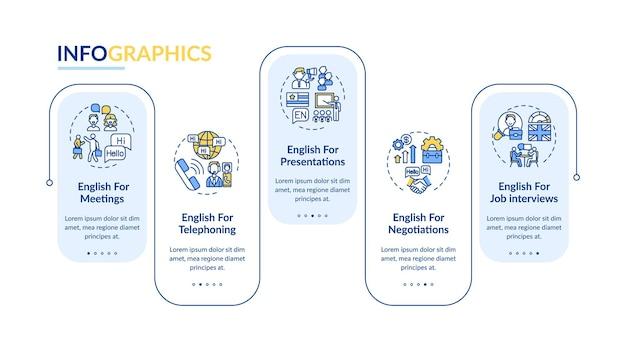 Modello di infografica per scopi aziendali. telefonare, elementi di design presentazione trattative. visualizzazione dei dati con 5 passaggi. elaborare il grafico della sequenza temporale. layout del flusso di lavoro con icone lineari