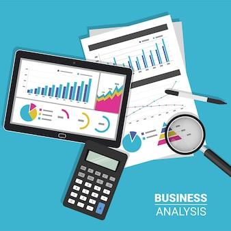 Concetto di analisi report aziendale con tablet, calcolatrice e simbolo di lente di ingrandimento