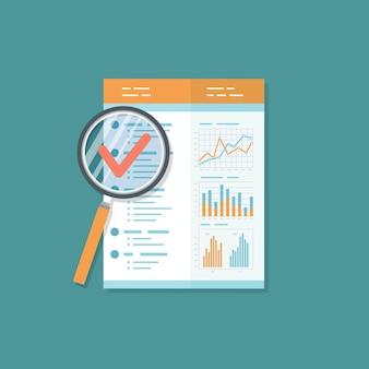 Relazione d'affari, documento con lente d'ingrandimento. risultato dell'audit.