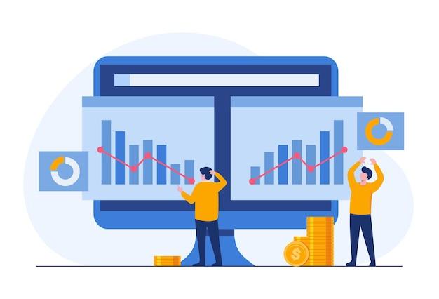 Reporting aziendale su grafico e grafico, uomo d'affari di successo, illustrazione piatta vettoriale