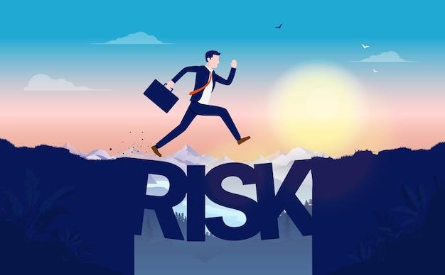 Illustrazione di rischio aziendale con uomo senza paura che salta sopra la scogliera con ponte fatto di lettere