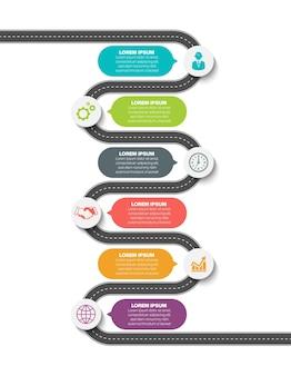 Icone infographic della cronologia della mappa stradale di affari progettate per il modello astratto del fondo