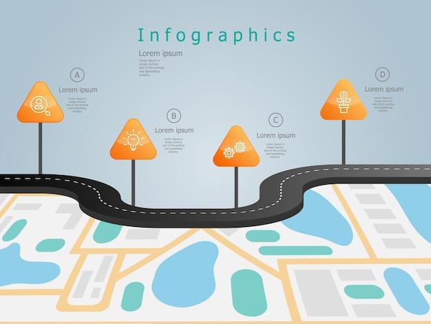 Modello di elementi di business roadmap timeline infographics