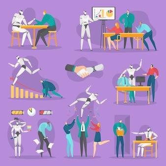 Robot aziendali in ufficio, tecnologia informatica futuristica, set. robot