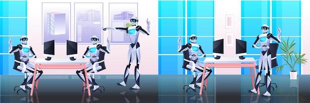 Team di robot aziendali che discute durante la riunione in ufficio tecnologia di intelligenza artificiale concetto di brainstorming a tutta lunghezza orizzontale
