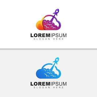 Logo di atterraggio business razzo, logo cloud prestazioni design versione due