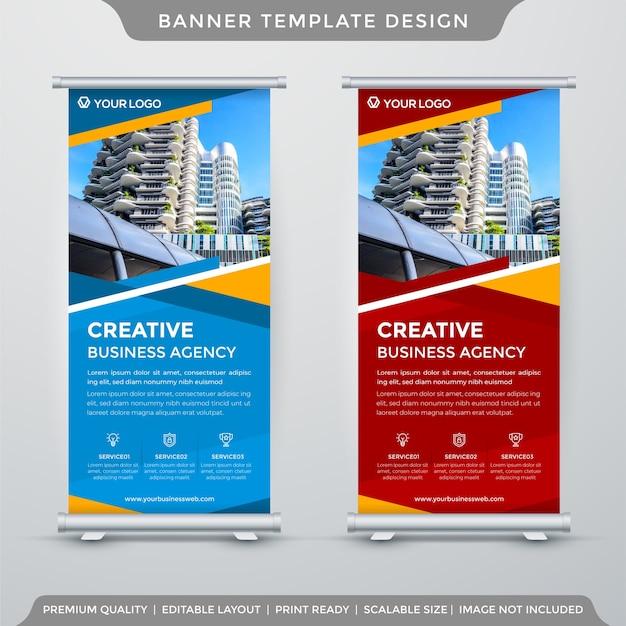 Modello di banner roll up aziendale con stile astratto