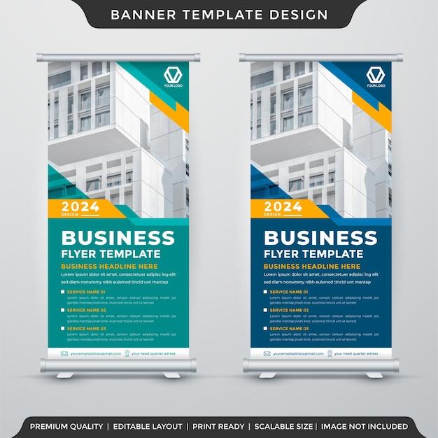 Modello di banner roll up aziendale con stile moderno