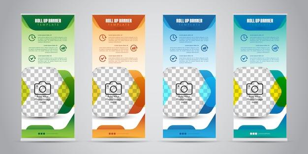 Business roll up banner con 4 colori diversi. standee design. modello di banner