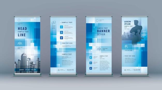 Business roll up set modello di banner standee astratto blu geometrico pixel jflag xstand