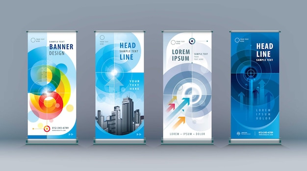 Business roll up set standee design banner modello astratto freccia e percorso di destinazione verso l'obiettivo