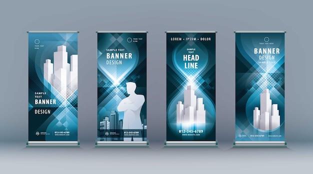 Business roll up set standee design banner modello astratto nero geometrico infinito jflag