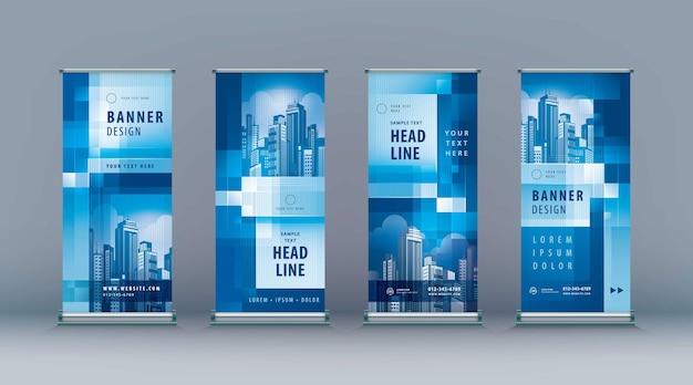 Business roll up set standee design banner modello astratto blu geometrico pixel jflag