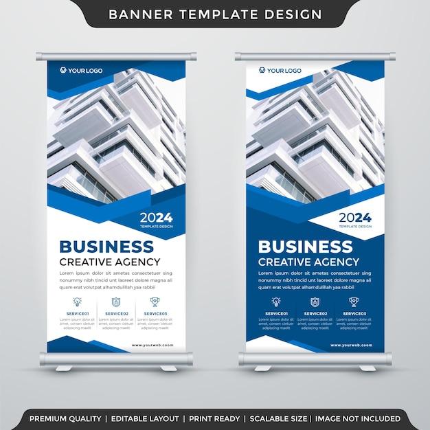 Progettazione del modello di visualizzazione banner rollup aziendale con layout astratto e stile moderno