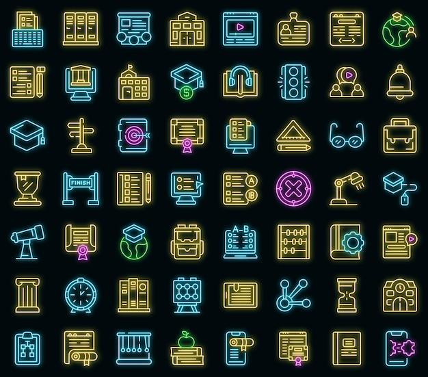 Icone della scuola di affari messe. contorno set di icone vettoriali business school colore neon su nero