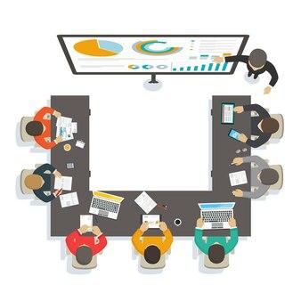 Consulente per seminari aziendali fornisce formazione sull'analisi del mercato economico di analisi di marketing