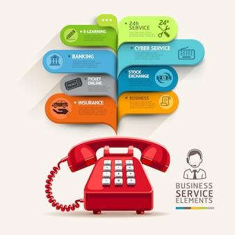 Icone di servizi aziendali e telefono con modello di discorso della bolla.