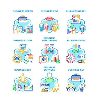 Icone stabilite di servizio di affari illustrazioni di vettore. vista aziendale e discussione, grafico e chiave, ha bisogno di prestito e credito, zen e bacio. illustrazioni a colori di occupazione professionale dell'uomo d'affari