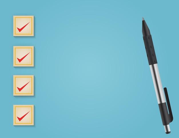 Servizi aziendali che valutano il concetto di esperienza del cliente del segno di spunta corretto su sfondo blu