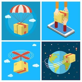 Insieme di affari. concetto di servizio di consegna. consegna per via aerea. consegna mobile. illustrazione di vettore colorato design piatto.