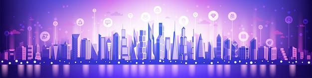 Concetto di città intelligente di affari