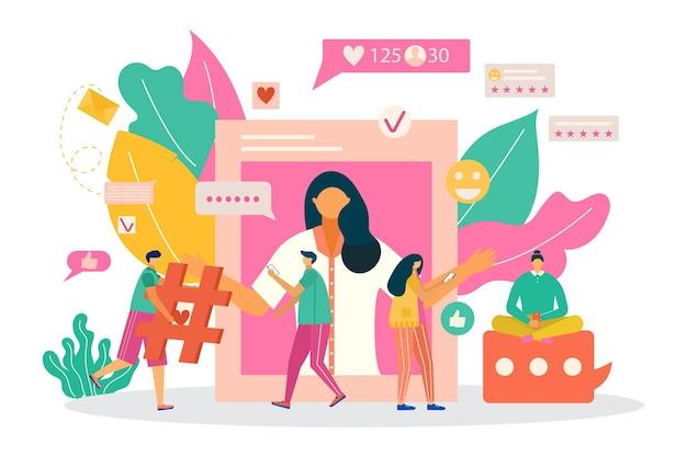 Business social media marketing, minuscole persone carattere insieme internet web network piatto illustrazione vettoriale, isolato su bianco.