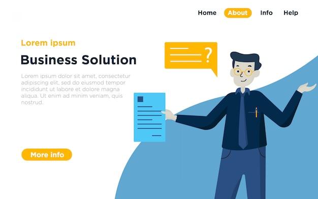 Fondo dell'illustrazione della pagina di atterraggio della soluzione di affari Vettore Premium