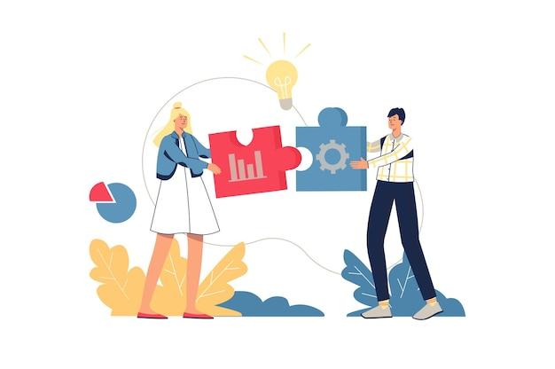 Concetto di web di soluzione aziendale. i dipendenti fanno brainstorming, lavorano insieme su compiti, creano idee, innovano il progetto. scena di persone minime di lavoro di squadra. illustrazione vettoriale in design piatto per sito web