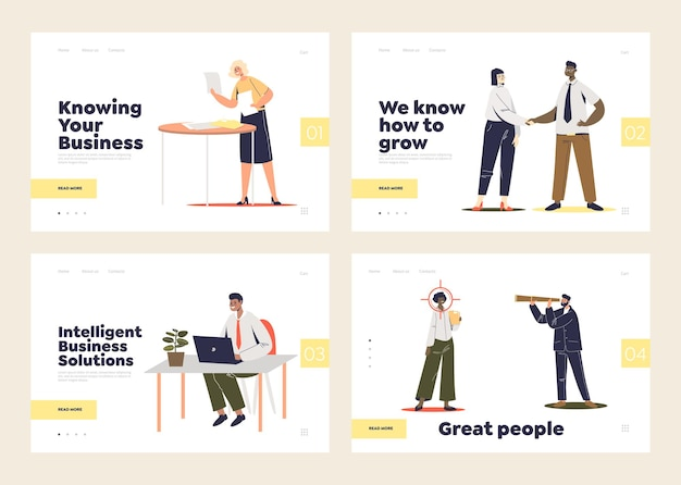 Soluzioni aziendali e concetto di risorse umane del set di pagine di destinazione del modello con uomini d'affari del fumetto: lavoratori, consulenti e responsabili delle risorse umane.