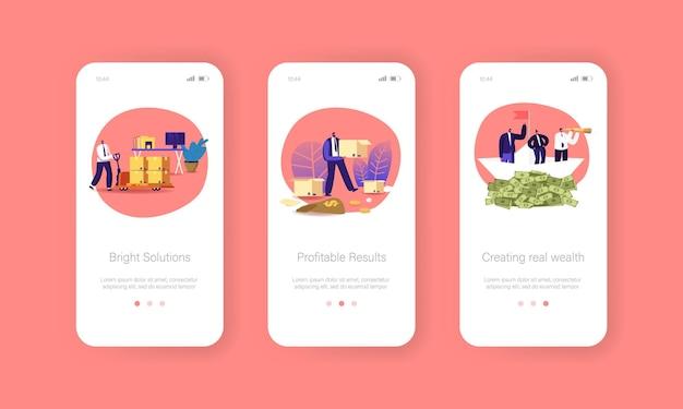 Modello di schermata a bordo della pagina dell'app per dispositivi mobili per soluzioni aziendali