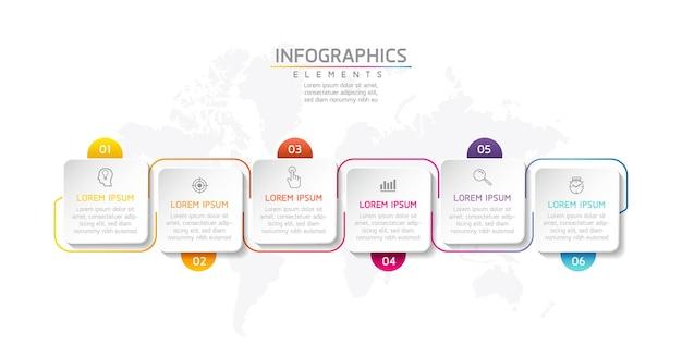Progettazione del modello degli elementi infographic di forma quadrata di affari