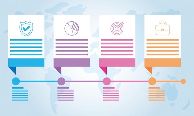 Infographics della linea del tempo dei quadrati di affari