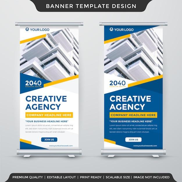 Design del modello di banner per stand aziendali con sfondo geometrico astratto e uso in stile moderno per presentazioni aziendali e visualizzazione del prodotto