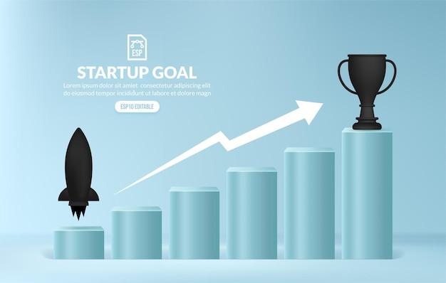 Concetto di avvio aziendale, salire le scale per ottenere opportunità di carriera, scala del successo aziendale